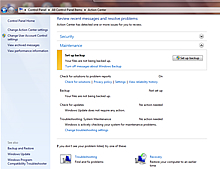 Windows 7 Action Center